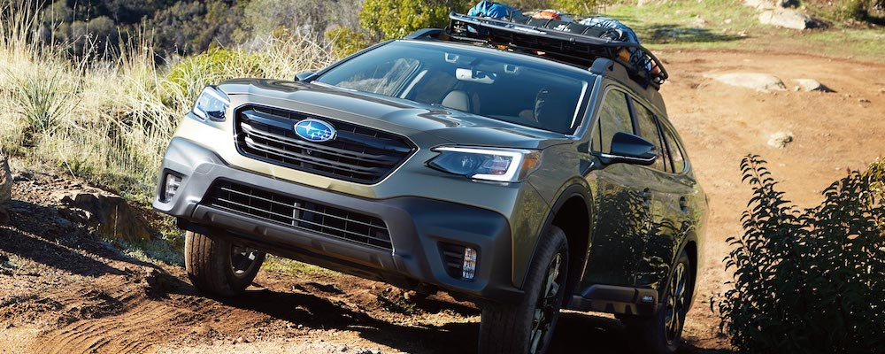 2020 Subaru Outback going up a hill