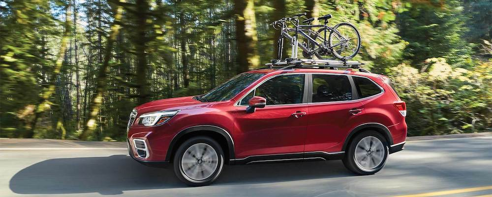 2020 Subaru Forester with bicycles on the roof rack