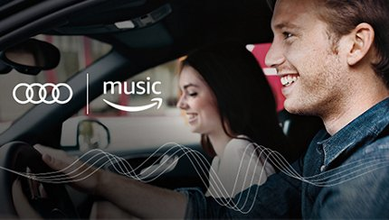 Couple smiling behind Amazon music logo