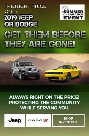 September | The Right Price on a 2019 Jeep or Dodge