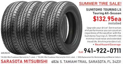 SUMITOMO TIRES Installed -- with Road Hazard Coverage!