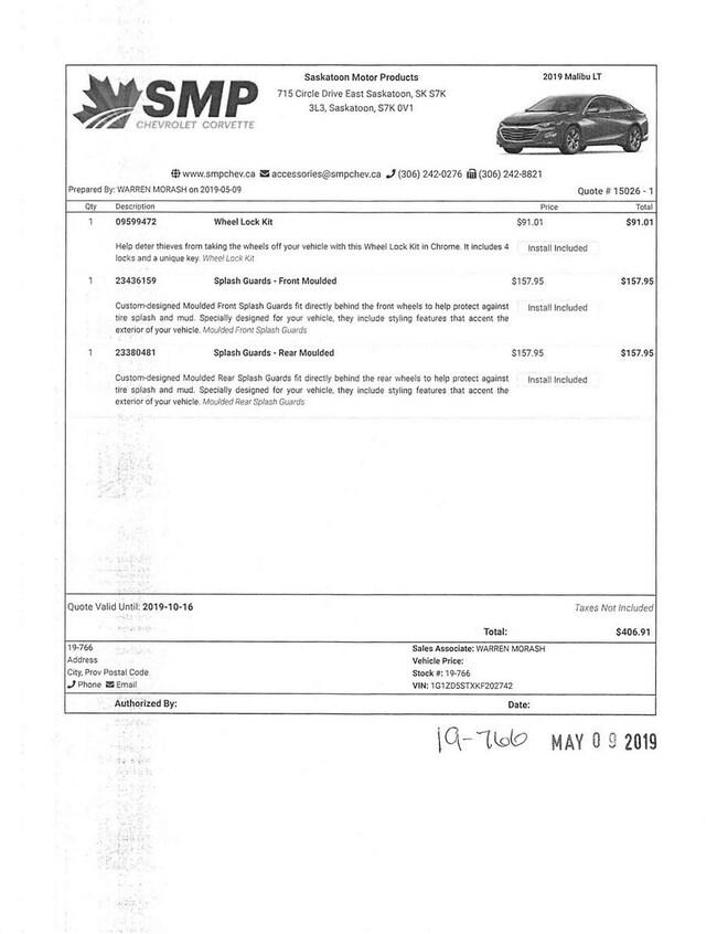New 2019 Chevrolet Malibu LT For Sale In Saskatoon SK | S:19-766 V