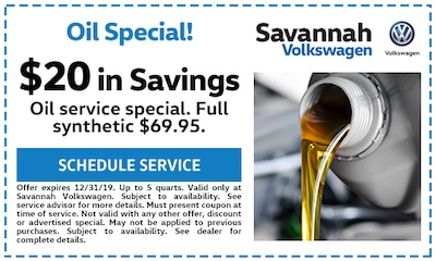 $20 in savings! Oil Service special. Full synthetic $69.95.