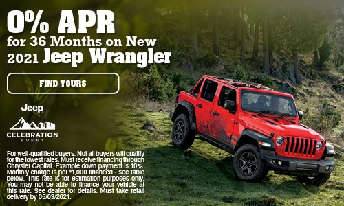 0% APR for 36 Months on New 2021 Jeep Wrangler- April Offer