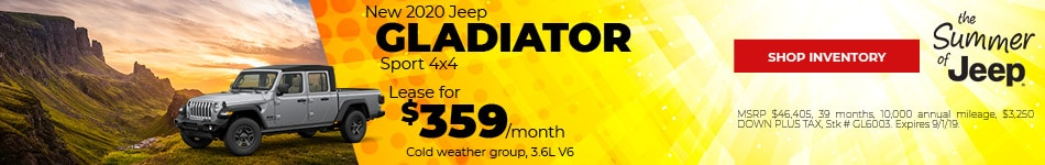 August 2020 Jeep Gladiator Lease Offer