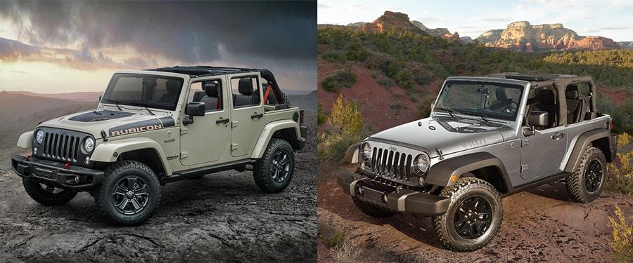 compare the 2017 jeep wrangler vs. jeep wrangler unlimited