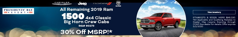 February All Remaining 2019 Ram 1500 4x4 Classic Big Horn Crew Cabs