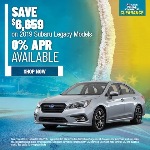 Save $6,659 on 2019 Subaru Legacy Models