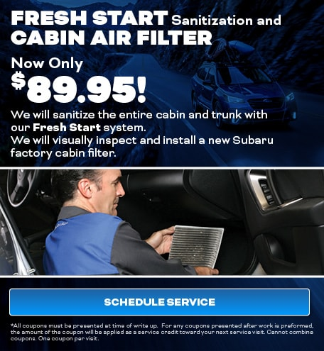 Fresh Start Sanitization and Cabin Air Filter