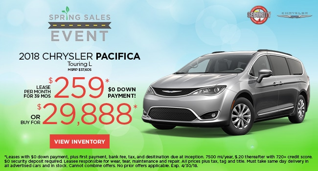 2018 chrysler pacifica touring l $259