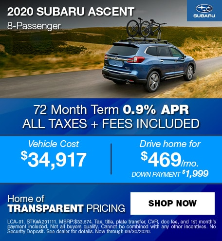 0% APR Financing for 63 mos. on a new 2020 Ascent