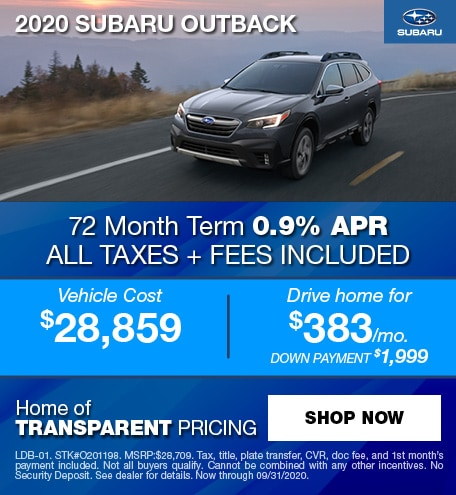 0% APR Financing for 63 mos. on a new 2020 Outback