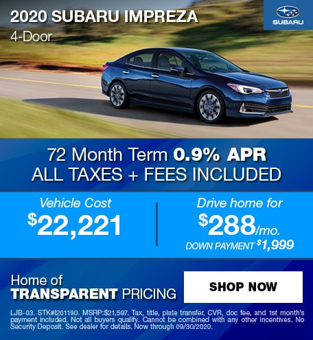 0% APR Financing for 63 mos. on a new 2020 Impreza