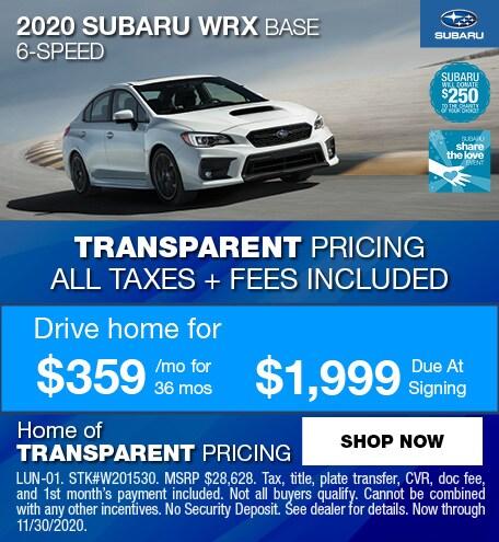 2020 Subaru WRX Base 6-Speed