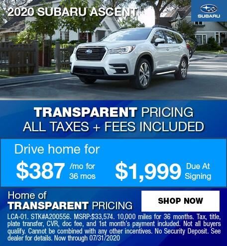 2020 Subaru Ascent July Offer