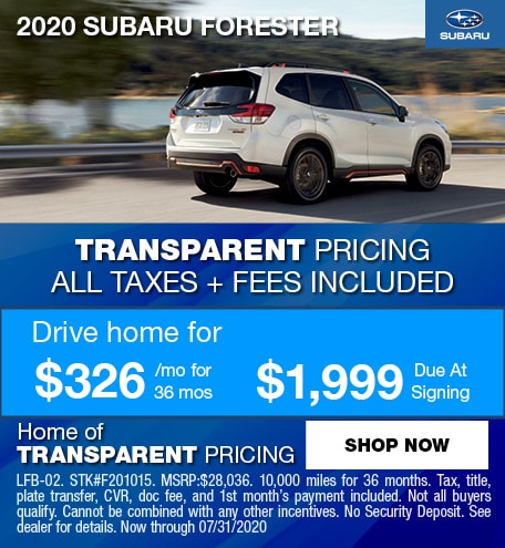 2020 Subaru Forester July Offer