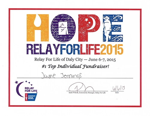 2015 Relay for Life Top Individual Fundraiser: Jayne Jennings