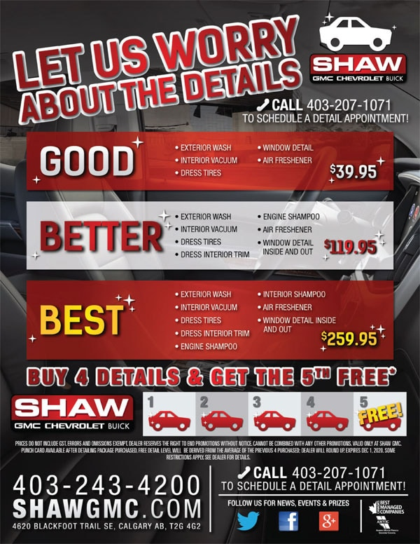 Shaw Gmc Calgary >> Vehicle Specials Shaw Gmc Chevrolet Buick Inc