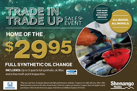 $29.95 Full Synthetic Oil Change