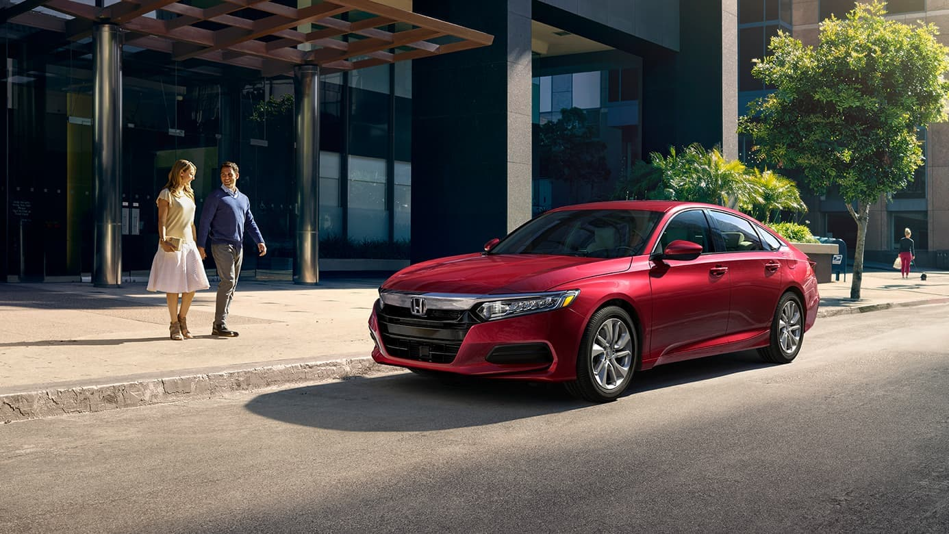 2019 Honda Accord in red parked on street