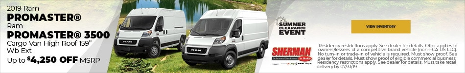 New 2019 Ram ProMaster and ProMaster 3500 7/19/2019