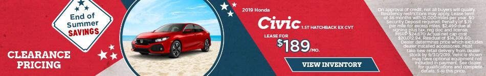 Lease 2019 Civic 1.5T Hatchback EX CVT 9/9/2019
