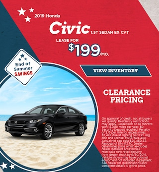Lease 2019 Civic 1.5T Sedan EX CVT 9/9/2019