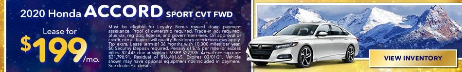 2020 Honda Accord Sport CVT FWD - January 2021