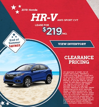 Lease 2019 HR-V AWD Sport CVT 9/9/2019