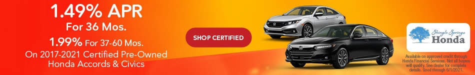 Certified Honda Accords & Civic 1.49% APR