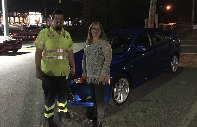 Salesperson Dawn DeChristopher with her Happy Customer, Austin Cornette, and his brand new 2015 Mitsubishi Lancer GT!