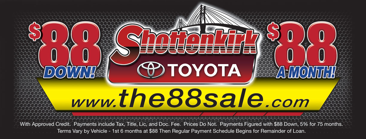 Shottenkirk 88 Sales Event 88 Down 88 Per Month