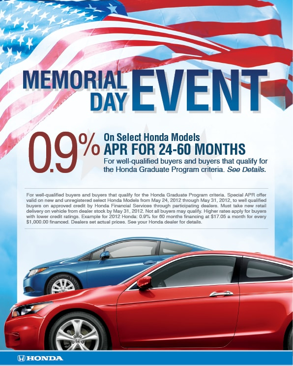 Honda Memorial Day Car Sales Event 9 Finance Car Rates Phoenix Az