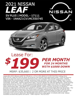 Lease a 2021 Nissan Leaf for only $199/month!
