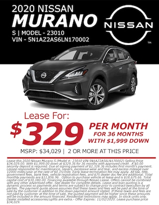 Lease a 2020 Nissan Murano for only $329/month!