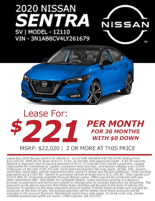Lease a 2020 Nissan Sentra for only $221/month!