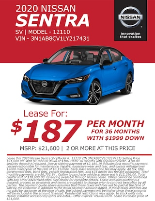 Lease a 2020 Nissan Sentra for only $187/month!