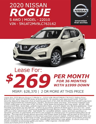 Lease a 2020 Nissan Rogue for only $269/month!