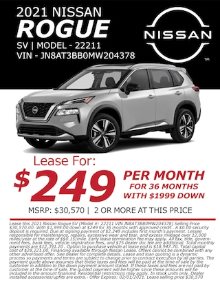 Lease a 2021 Nissan Rogue for only $249/month!