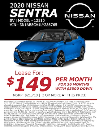 Lease a 2020 Nissan Sentra for only $149/month