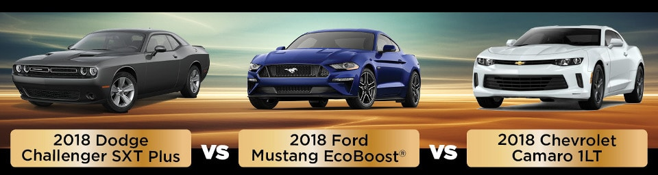 2018 Dodge Challenger SXT Plus vs. 2018 Ford Mustang Ecoboost vs. 2018 Chevy Camarao 1LT side by side comparison image