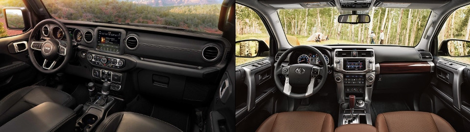 2018 Jeep Wrangler and 2018 Toyota 4Runner Interior Dashboard side by side image