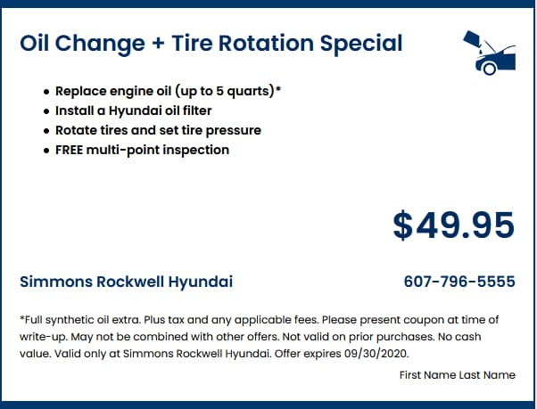Oil Change + Tire Rotation Special