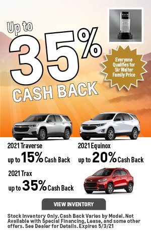 April | 2021 Traverse, 2021 Trax, 2021 Equinox | Up to 35% Cash Back