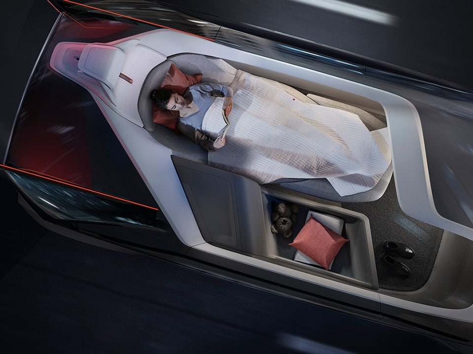 Volvo self driving car interior sleeping configuration concept