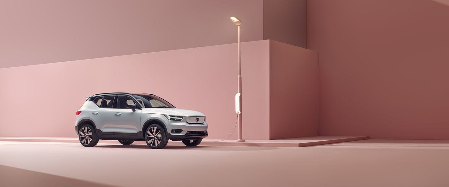 Volvo XC40 Recharge plugged in to charger
