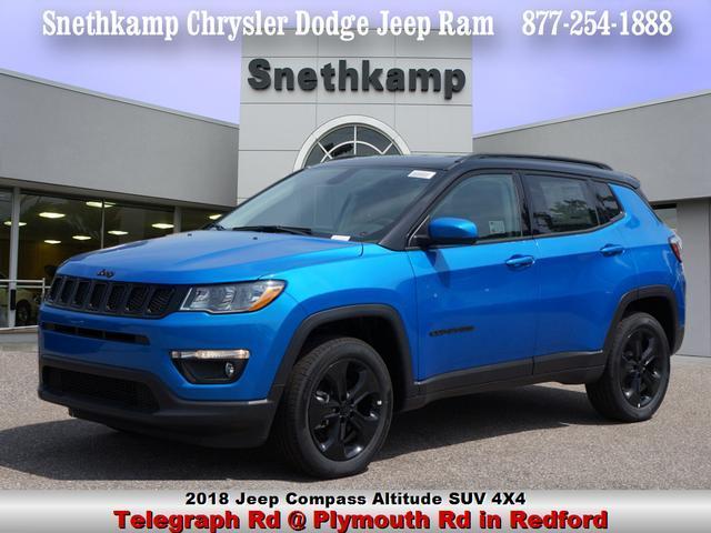 New 2018 Jeep Compass ALTITUDE 4X4 laser blue pearlcoat exterior black interior 0 miles Stock J