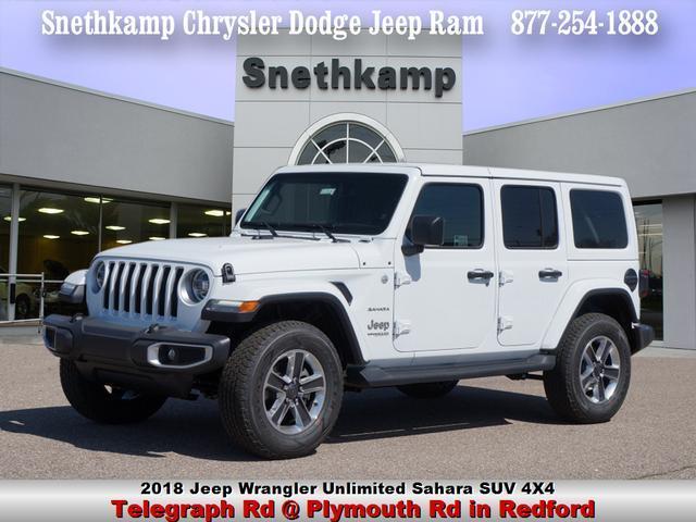 New 2018 Jeep Wrangler UNLIMITED SAHARA 4X4 bright white exterior black interior 0 miles Stock