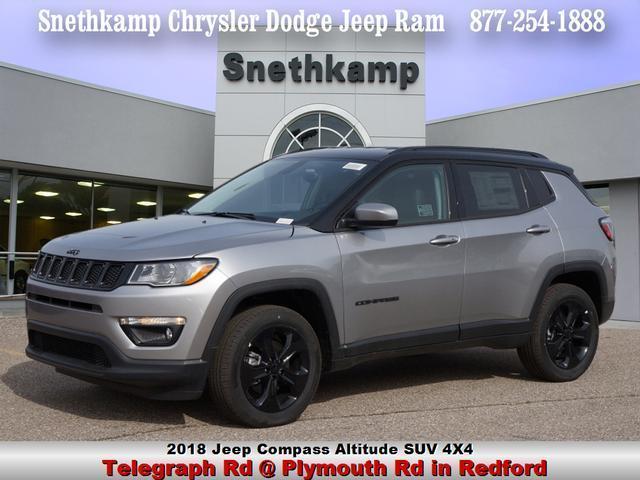 New 2018 Jeep Compass ALTITUDE 4X4 billet silver exterior black interior 0 miles Stock JT321078