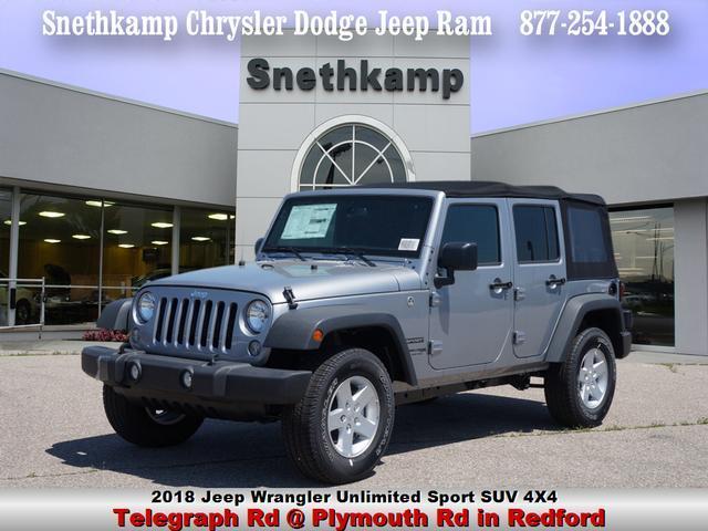 New 2018 Jeep Wrangler Unlimited WRANGLER JK UNLIMITED SPORT S 4X4 billet silver exterior black in